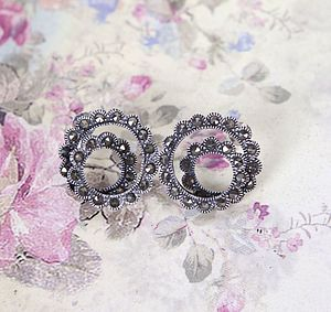Vintage Style Marcasite Spiral Earrings - earrings