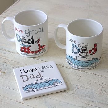 'You're great' and 'I love you' mugs & coaster