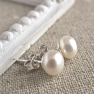 Silver Freshwater Pearl Stud Earrings - earrings