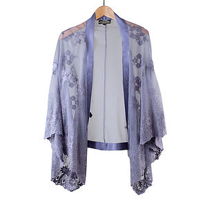 Purple Smoke Embroidered Lace Shrug - jackets & coats