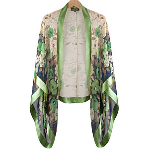 Green Fleur Print Silk Shrug - coats & jackets