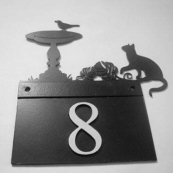 Cat And Bird House Number Plate