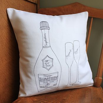 Personalised Anniversary Champagne Cushion