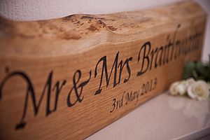Personalised Solid Oak 'Mr And Mrs' Plaque - room decorations