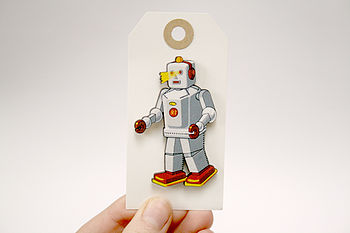 Cedric Retro Wooden Robot Badge