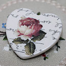 Porcelain rose heart brooch