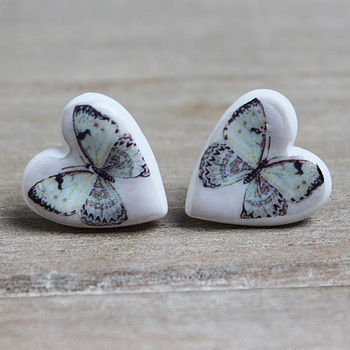 Porcelain heart butterfly earrings
