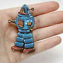 Stanley Retro Wooden Robot Badge