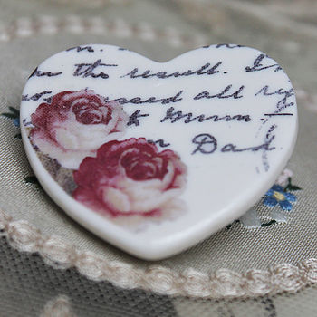 Porcelain Rose And Writing Brooch