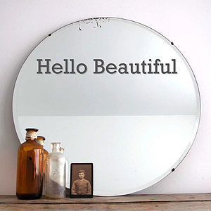 'Hello Beautiful' Vinyl Mirror Sticker - pictures, prints & paintings