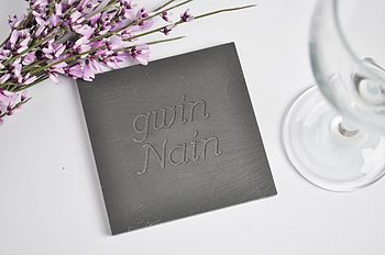 Handmade Welsh Slate Engraved Coaster