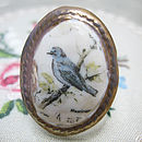 Porcelain Blue Bird Cameo Ring