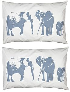 Set Of Two Elephant Family Pillowcases - bedding & accessories