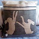 Hessian Boxing Hare Cushion