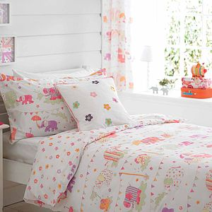 Girl's Elephants Double Duvet Cover Set - bedroom