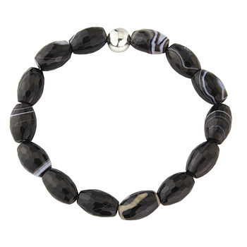 Monochrome Lozenge Shaped Agate Bracelet