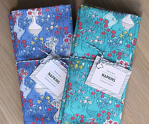 Set Of Two Flower Vases Napkins - bed, bath & table linen
