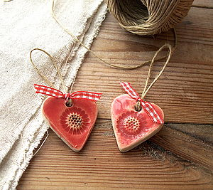 Two Poppy Ceramic Hearts - decorative accessories