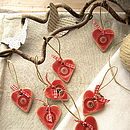Two Poppy Ceramic Hearts