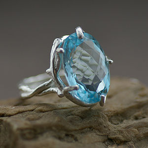 Silver And Blue Topaz Dress Ring - women's jewellery