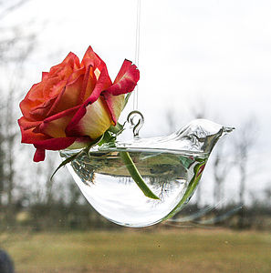 Glass Bird Hanging Vase - table decorations