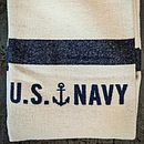 Cream And Blue US Navy Stripe Blanket