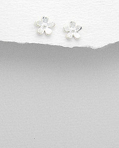Sterling Silver Flower Stud Earrings - earrings