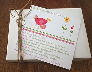 Set Of Eight Hen Night Invitations