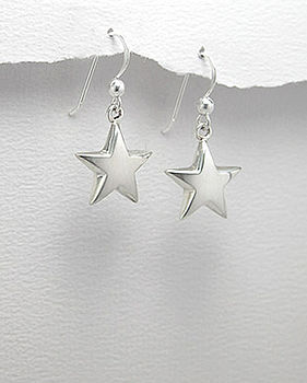 Sterling Silver Star Hook Earrings