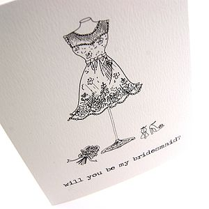 'Will You Be My Bridesmaid?' Illustrated Card - wedding cards & wrap