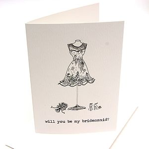 'Will You Be My Bridesmaid?' Illustrated Card - cards & invitations
