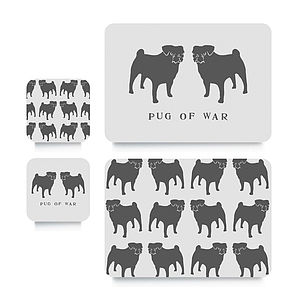 Pug Coaster Or Placemat - placemats & coasters