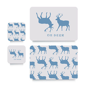 Blue Stag Coaster Or Placemat