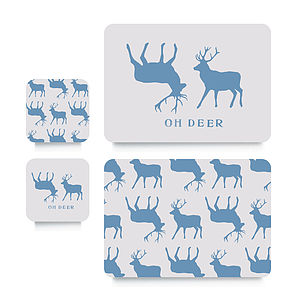 Blue Stag Coaster Or Placemat - christmas sale