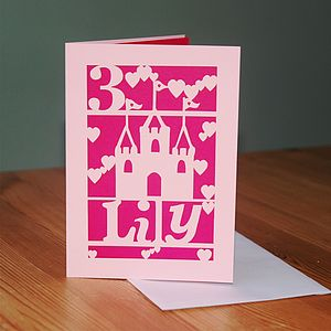 Personalised Lasercut Girl's Birthday Card - special age birthday cards