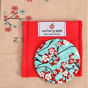 Cherry Blossom Fabric Mirror - beauty accessories