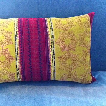 Block Printed Velvet Cushion In Lime And Red