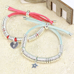 Suede Links Bracelet With Silver Initial - charm jewellery