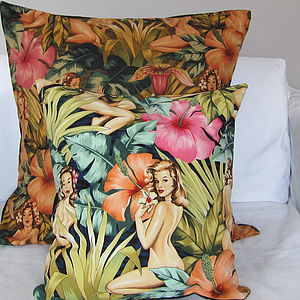 Tropical Pin Up Girl Cushion Cover - on trend: tropical