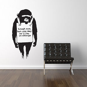Banksy Laugh Now Wall Stickers - children's room accessories