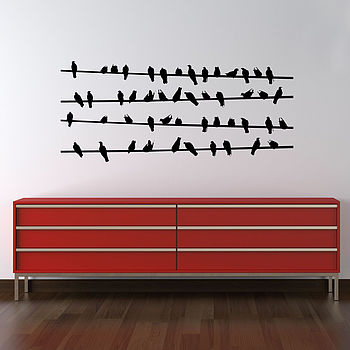 Birds On Power Line Wall Stickers