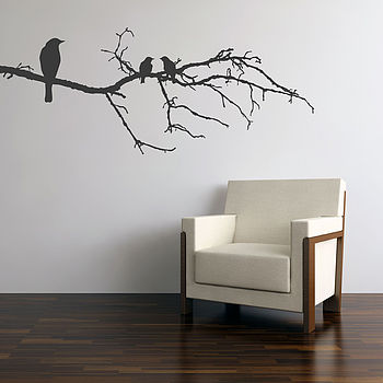 Black Birds On Branch Wall Sticker