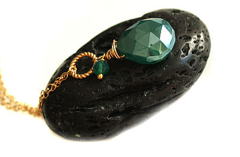 Mystic Green Onyx Gold Pendant Necklace
