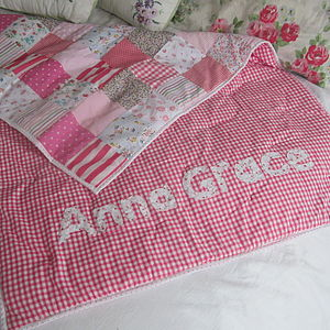 Patchwork Quilt Personalised Girls And Boys - for babies