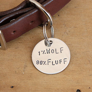'One Percent Wolf' ID Tag, Silver Or Brass - walking
