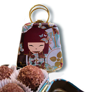 Handbag Tin Filled With Belgian Truffles - chocolates
