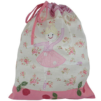 Embroidered Child's Ballerina Laundry Bag