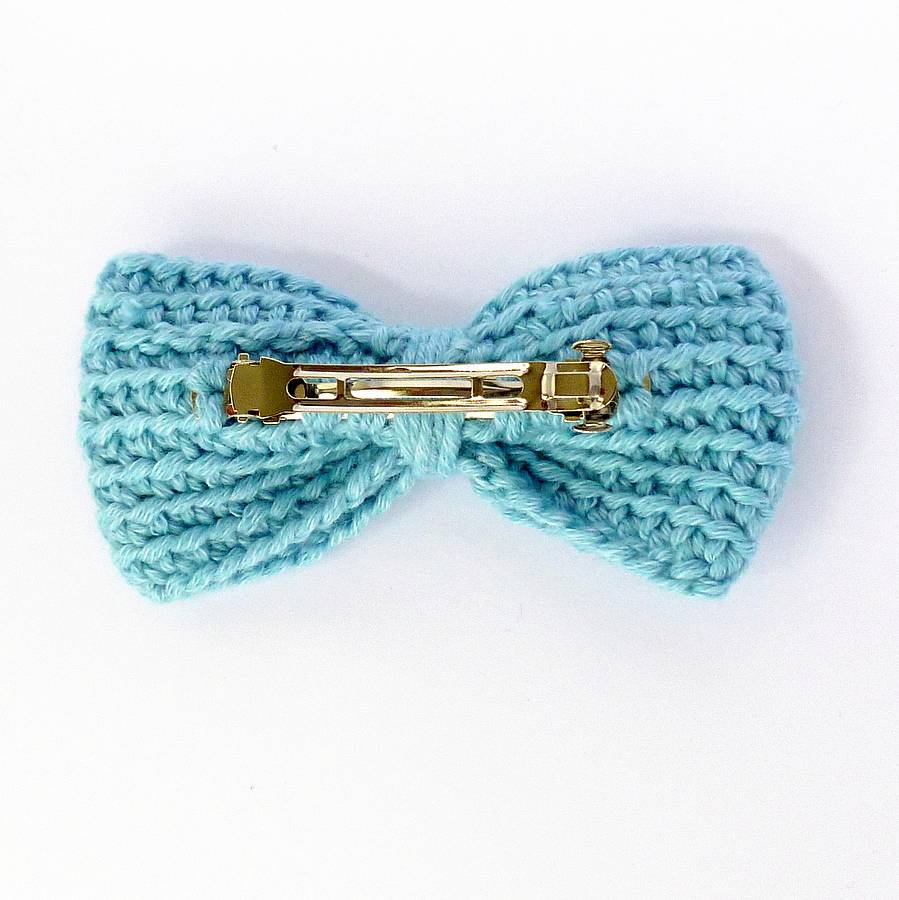 crochet bow hair clip by miss knit nat notonthehighstreet.com