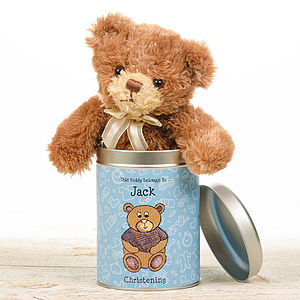 Personalised Christening Teddy In A Tin