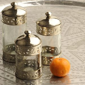 Maillechort Glass Jar - votives & tea light holders